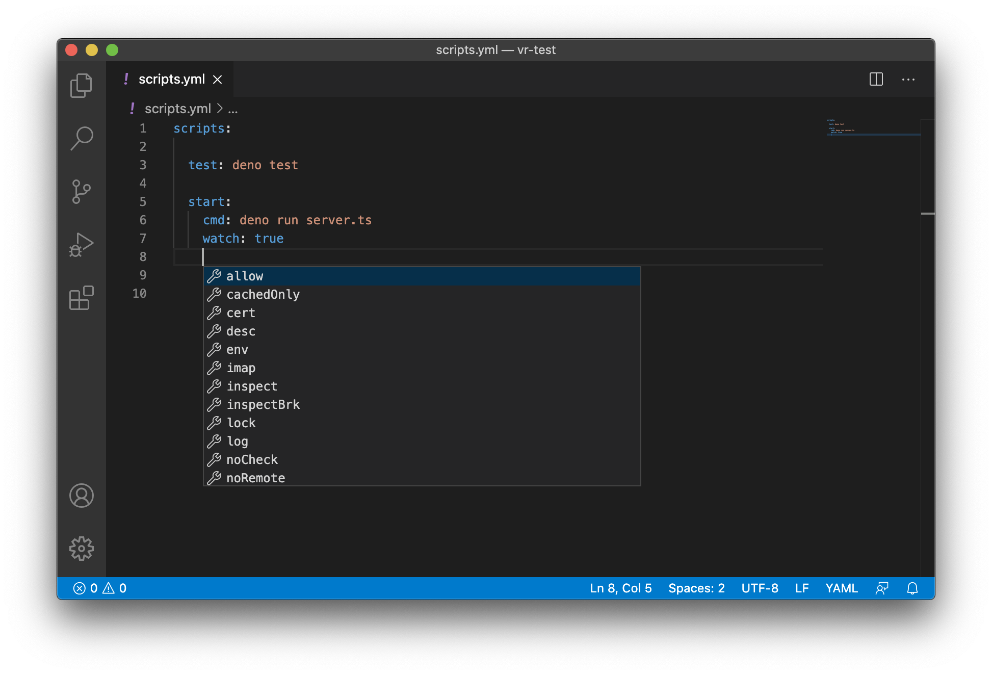 VSCode code assistance for Velociraptor